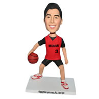 Basketball player bobblehead  in red sports wear