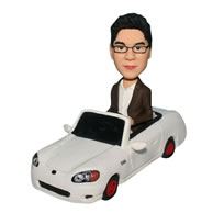 Custom  successful man bobblehead  with his car