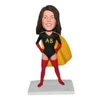 Superwoman in yellow mantle custom bobblehead