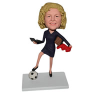 Yellow hair woman in dress with a soccer ball custom bobblehead