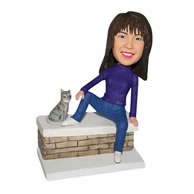 Woman in purple T-shirt with her pet cat custom bobblehead