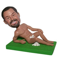 Naked man lying on the grass custom bobblehead