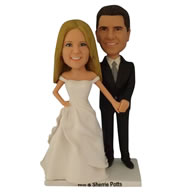 Groom in black suit and his bride in white wedding dress custom bobblehead