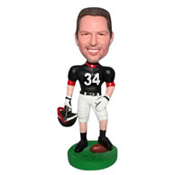 No.34 football player in black football wear custom bobblehead
