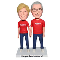 Custom husband and wife are all in red shirt bobble head
