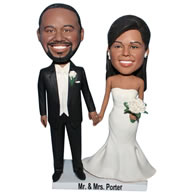 Custom groom in black suit and his bride in white wedding dress  bobble head