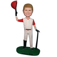 Custom young baseball player in baseball uniform bobblehead