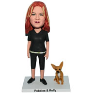 Custom red hair woman in black suit with her pet dog bobblehead