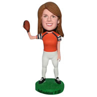 Custom  female football player in sports wear bobble head