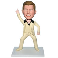 Custom  funny man in beige suit bobble head