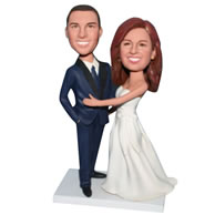 Custom groom in blue suit and bride in white wedding dress bobblehead