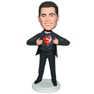 Custom  superman in black suit bobble head