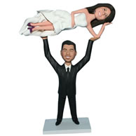 Custom  wedding  bobblehead groom in black suit lifting his bride in white dress