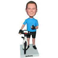 Custom  man in blue shirt with his bike bobblehead