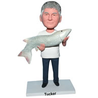 Custom man in white shirt handing a large fish  bobble head