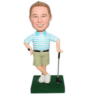 Custom man in blue stripe shirt playing golf  bobble head