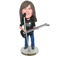 Custom long black hair man playing the guitar bobble head