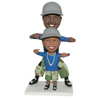 Custom daddy and son are wearing same clothes  bobble head