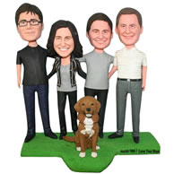 Custom happy family whith their pet dog  bobblehead