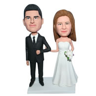 Custom  groom in black suit and bride in white wedding dress bobblehead