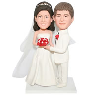 Custom groom in white suit and bride in white wedding dress  bobblehead