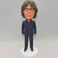 Custom bobbleheads in purple shirt