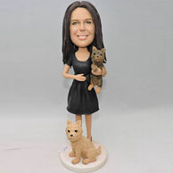 Custom bobbleheads for her who is a pets lover