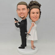 Personalized wedding cake topper bobbleheads