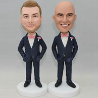 Custom groomsmen bobblehead in blue suit and pink bowtie