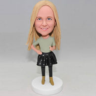 Personalized bobbleheads for wife in black dress