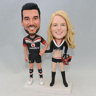 Wedding cake topper bobbleheads for them who like sports