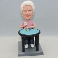 Personalized bobbleheads for mother who like play cards