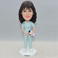 Custom bobbleheads gifts for sister who is a nurse in blue uniform