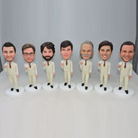 Best groomsmen group bobbleheads with tan suit