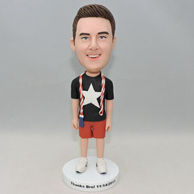 Personlized young boy bobblehead with jump rope on the neck