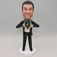 Custom black suit bobblehead with own logo on shirt
