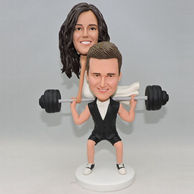 Custom interesting couple bobbleehad for wedding