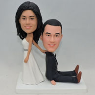 Custom wedding couple bobblehead with white dress