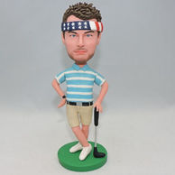 Custom golf player bobblehad with Stars and Stripes headcloth