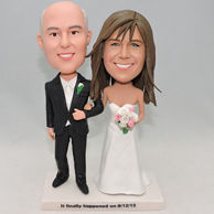 Romantic wedding bobblehead with white dress