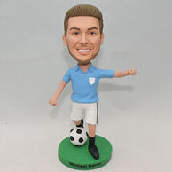 Young boy soccer player bobblehead with bule jersey