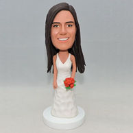 Custom wedding gift happy bridesmaid bobblehead with white wedding dress and red flowers