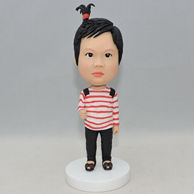 Custom cute little girl bobblehead with red and wihte stripe shirt