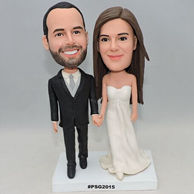 Custom sweet wedding bobblehead with black suit and grey tie for wedding gift