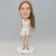 Custom beautiful girl bobblehead with white outfit and red high heel