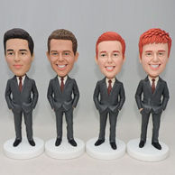 Custom group wedding groomsmen bobblehead with the same black suit