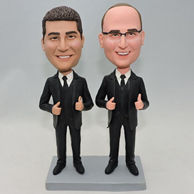 Custom best gift brother bobble head doll with same black suit