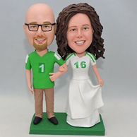 Custom funny couple bobblehead with green jersery shirt