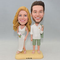Custom creative couple beach bobblehead with white dress