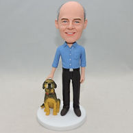 Personalized birthday gift blue shirt father bobblehead with a brown dog